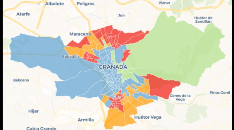 el voto por barrio en granada capital elecciones andaluzas 2018